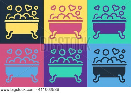 Pop Art Romantic In Bathroom Icon Isolated On Color Background. Concept Romantic Date. Romantic Bath