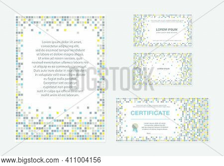 Vector Illustration Of Geometric Pixel Backgrounds For Banner, Poster, Business Card, Documents, Cer