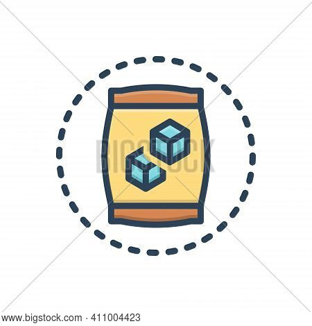 Color Illustration Icon For Sugar Carbohydrate Candy Sugar-cubes Editable Sweet Sugar-bag