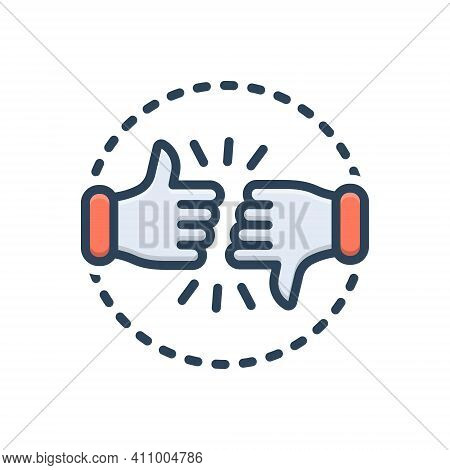 Color Illustration Icon For Critic Commentator Columnist Reviewer Customer Review Dislike Intelligen