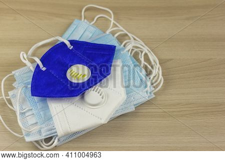 Covid-19: Disposable Masks And N95 Respirators To Protect The Face From The Coronavirus.