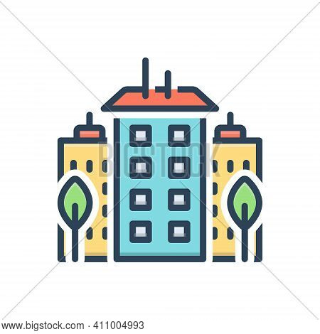 Color Illustration Icon For Downtown Center City Midtown Apartment Architecture Building Constructio