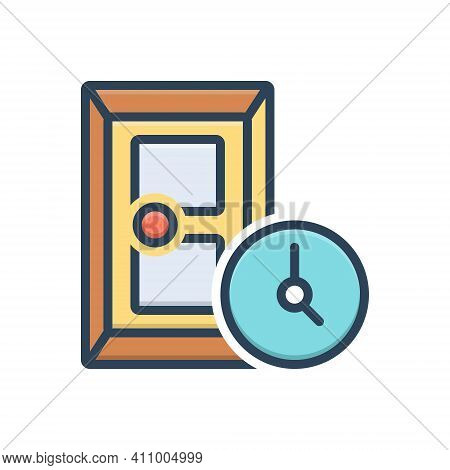 Color Illustration Icon For During At-the-time Entrance Gateway Inlet Door Approach Inside Doorway E