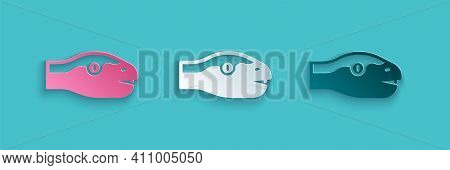 Paper Cut Snake Icon Isolated On Blue Background. Paper Art Style. Vector