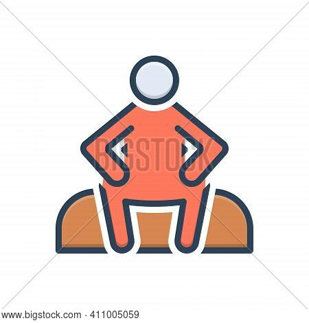 Color Illustration Icon For Sit Sit-down Relax Chair Rest Alone  Lonely Single Unhappy Sitting