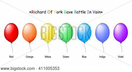 Colorful Realistic Balloons: Red Yellow Orange Green Blue Indigo And Violet Ballons. Acronym For The