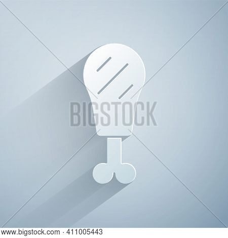 Paper Cut Chicken Leg Icon Isolated On Grey Background. Chicken Drumstick. Paper Art Style. Vector