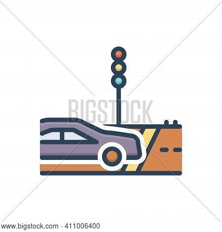 Color Illustration Icon For Cross Travel-across Travel Cross-road Path Zebra-crossing Traffic-light