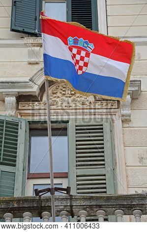 Croatian Flag At Old Building Exterior Flagpole