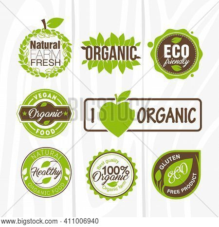 Organic Food Labels And Badges. Organic Element For Food And Drink. Organic Product, Shop, Restauran