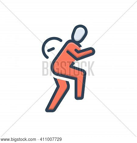 Color Illustration Icon For Slowly Slow Calmly Hurry Walk Run People Sneaking Apprehensive Motion