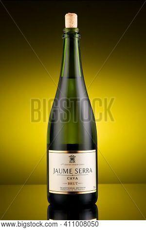 Lviv, Ukraine - June 10, 2020: Jaume Serra Cava Brut White Dry Wine
