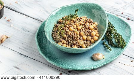 Healthy Vegetable Lunch From The Buddha Bowl With Quinoa, Chickpeas And Thyme. Super Food, Top View,
