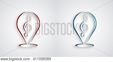 Paper Cut Treble Clef Icon Isolated On Grey Background. Paper Art Style. Vector
