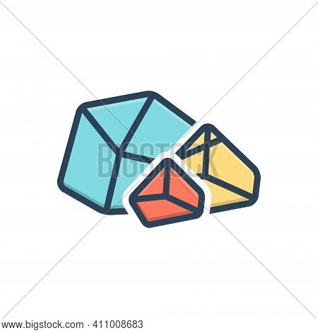 Color Illustration Icon For Rough Crystal Rugged Rocky Harsh Cutting Facet Gemstone Jewelry Mine