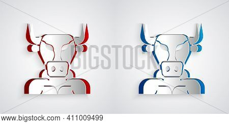 Paper Cut Minotaur Icon Isolated On Grey Background. Mythical Greek Powerful Creature The Half Human