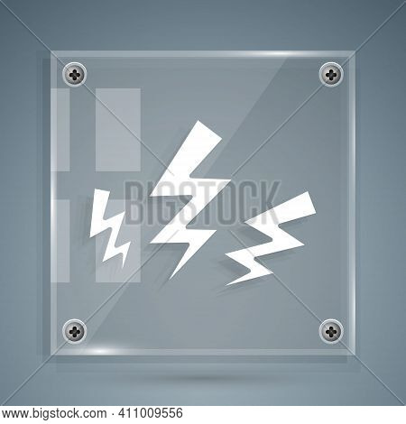 White Zeus Icon Isolated On Grey Background. Greek God. God Of Lightning. Square Glass Panels. Vecto