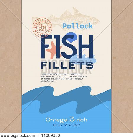 Fish Fillets Abstract Vector Packaging Design Or Label. Modern Typography, Hand Drawn Wild Pollock S