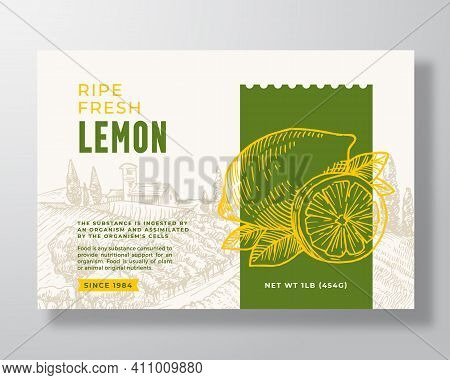 Ripe Fresh Lemon Food Label Template. Abstract Vector Packaging Design Layout. Modern Typography Ban