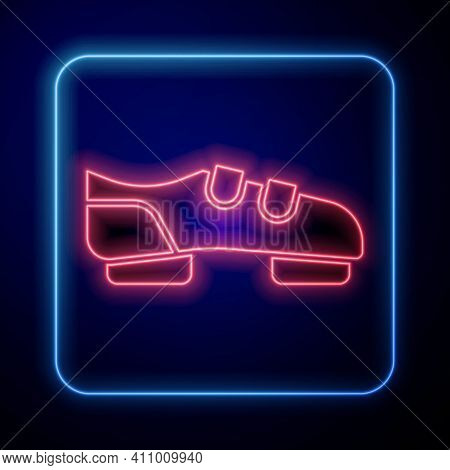 Glowing Neon Triathlon Cycling Shoes Icon Isolated On Black Background. Sport Shoes, Bicycle Shoes.