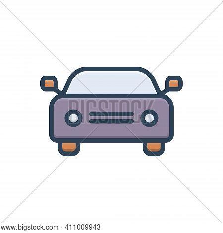Color Illustration Icon For Car Auto Passenger Automobile Conveyance Carriage Automotive Transport T