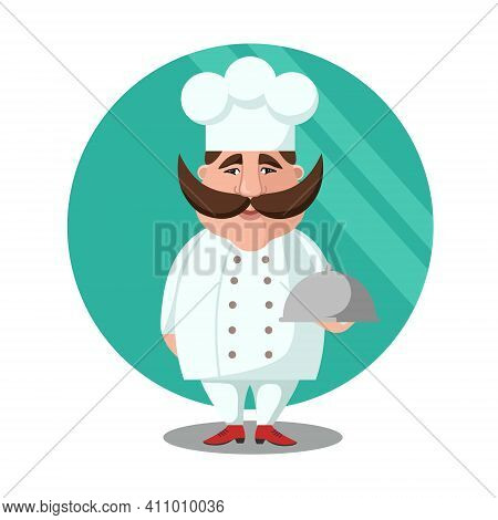 Flat Vector Illustration Of Chief-cooker With A Mustache In A White Dress With A Dish. Chief-cooker