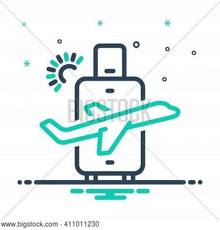 Mix Icon For Travel Trek Iteration Journey Tour Luggage Vacation Weekends Check-out Exit  Trip Itera