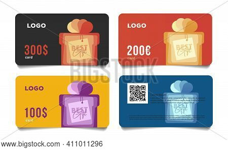 Gift Card Template With Stylized Gift Box Illustration With Best Wishes Note Tag, Money Equivalent,
