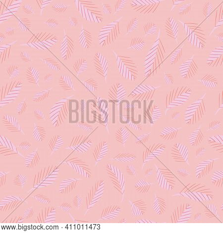 Mono Print Style Scattered Tiny Leaves Seamless Vector Pattern Background. Blended Monochrome Pink L