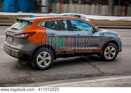 Moscow, Russia - 03 March 2021: Carsharing Car Nissan Qashqai On The Street. Youdrive Car Service Pe