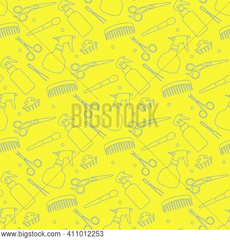 Vector Seamless Pattern With Professional Hairdresser Tools. Barbershop. Beauty, Hairdressing Salon.