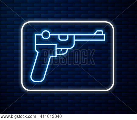 Glowing Neon Line Mauser Gun Icon Isolated On Brick Wall Background. Mauser C96 Is A Semi-automatic