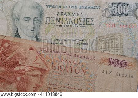 Closeup Of An Old Five Hundred And An Old One Hundred Banknote From Greece