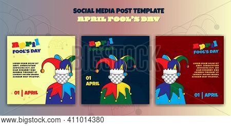 April Fools Day Design. Set Of Social Media Post Template With Clown Face Design. Good Template For
