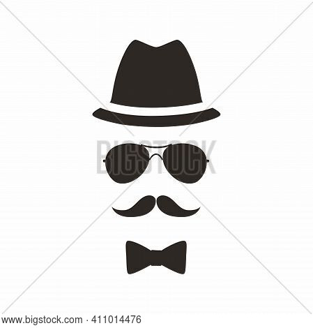 Gentleman Icon. Unknown Man With A Mustache In The Hat, Sunglasses And Bow.