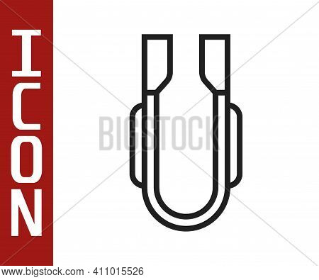 Black Line Meat Tongs Icon Isolated On White Background. Bbq Tongs Sign. Barbecue And Grill Tool. Ve
