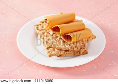 crispbread with Norwegian brunost traditional brown cheese