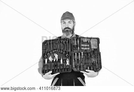 Electrician Tools. Professional Equipment. Custom Woodworkers. Set Of Tools. Screwdrivers Set. Man C
