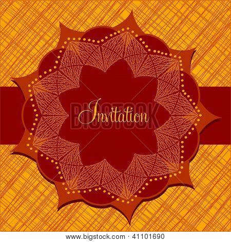 Invitation card with abstract flower with nine petals in bright orange colors poster