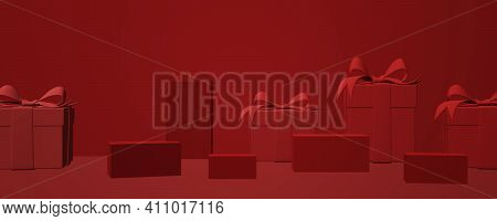 Minimal Abstract Product Background For Christmas, New Year And Sale Event Concept. Red Gift Box Wit