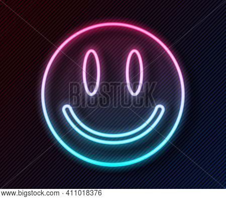 Glowing Neon Line Smile Face Icon Isolated On Black Background. Smiling Emoticon. Happy Smiley Chat