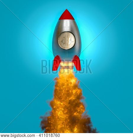 rocket taking off with the bitcoin symbol on the porthole. crypto currency concept. 3d render.