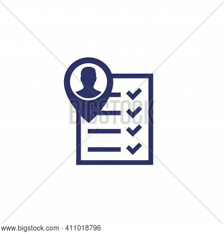 Qualification Icon, Man And Checklist On White