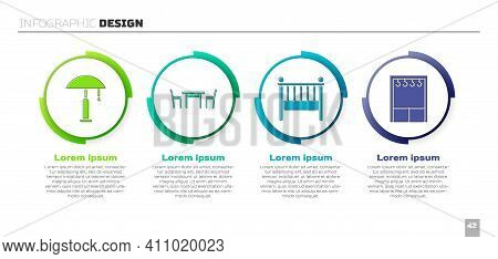 Set Table Lamp, Wooden Table With Chair, Baby Crib Cradle Bed And Wardrobe. Business Infographic Tem