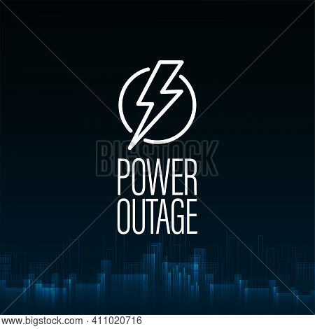Power Outage, Dark Blue Digital Poster With Warning Sign And Abstract City Without Electricity In Di