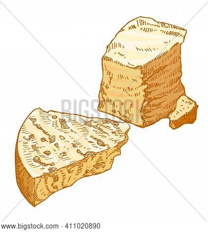 Piece Of Hard Cheese, Parmesan, Edam, Cut Slice, French Organic Food, Close-up, Isolated, Vintage St