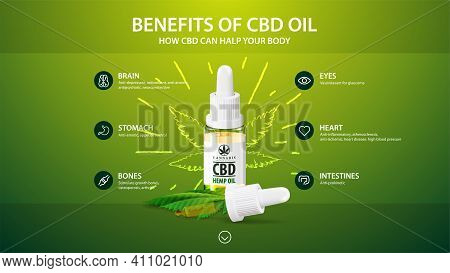 Green Template With White Bottle Of Medical Cbd Oil, Green Template With Inphographic Of Health Bene