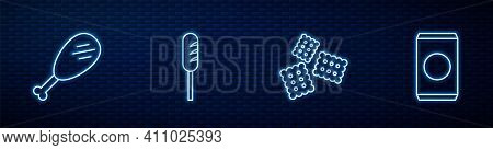 Set Line Cracker Biscuit, Chicken Leg, Fried Sausage And Soda Can With Straw. Glowing Neon Icon On B