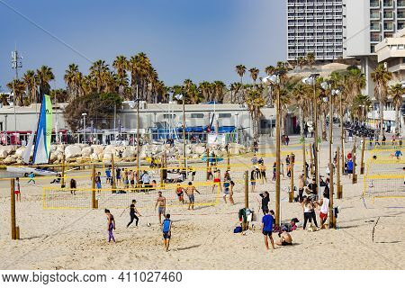 Israel, Tel Aviv, February, 2018 -  Beach Volleyball At Waterfront Park In Tel Aviv, Israel. Healthy