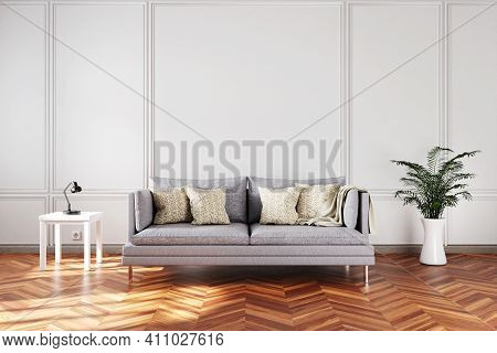 Elegant Living Room Interior With Single Vintage Sofa In Front Of White Wall; Copy Space; 3d Illustr
